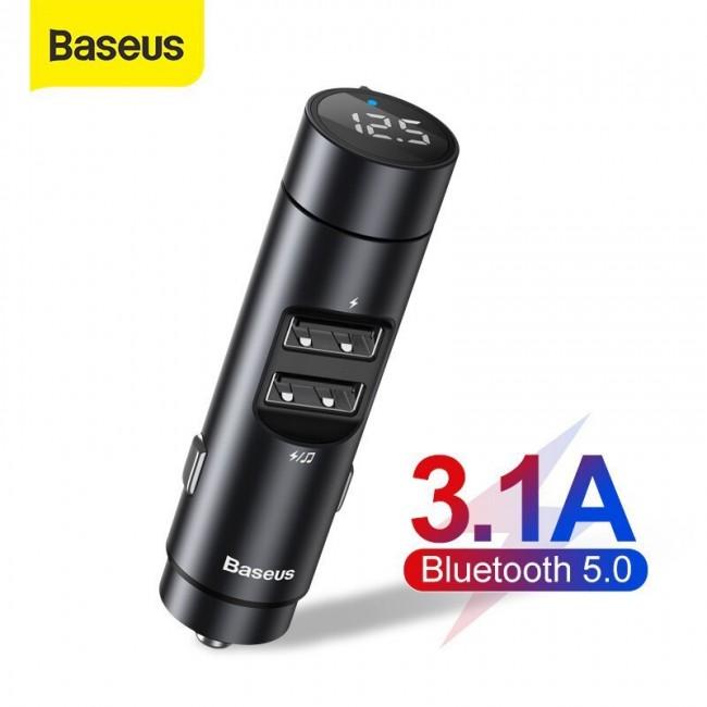 شارژر فندکی بیسوس مدل Baseus Energy Column Car Wireless MP3 Charger Wireless 5.0+5V/3.1A