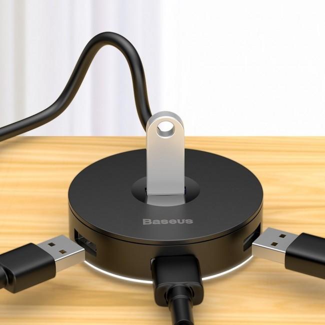 هاب آداپتور چهار خروجی بیسوس مدل Baseus round box hub adapter type-c+usb A to usb3.0*1+usb2.0*3
