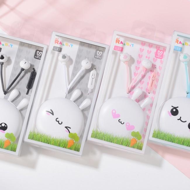 هندزفری فانتزی طرح خرگوش بانمک لاولی می Lovely me Q33 cute rabbit earphones