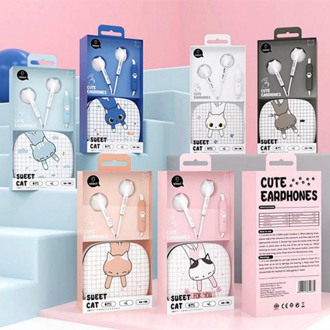 هندزفری فانتزی طرح گربه کیکا Keeka KA-168 cute little cat earphone