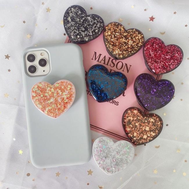 پاپ سوکت قلبی گلیتری Heart glitter design pop socket