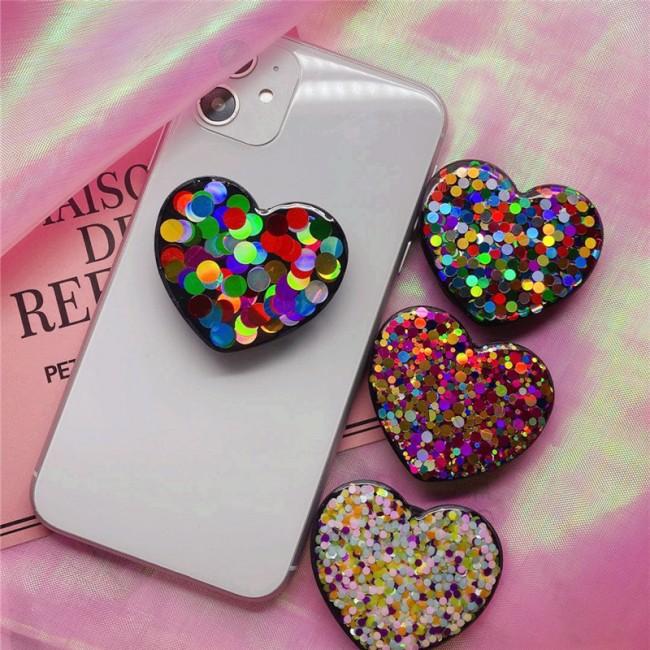 پاپ سوکت گلیتری قلب Glitter heart POP socket