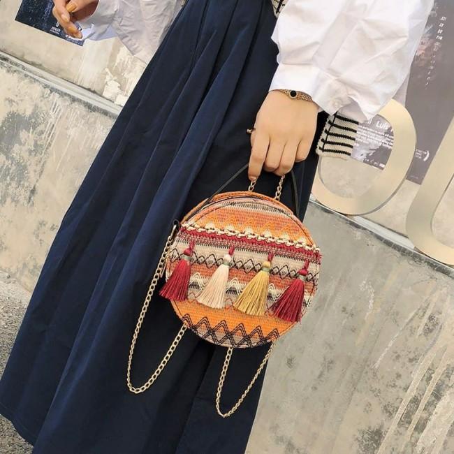 کیف دستی گلدوزی طرح سنتی Ethnic embroide design round shaped purse