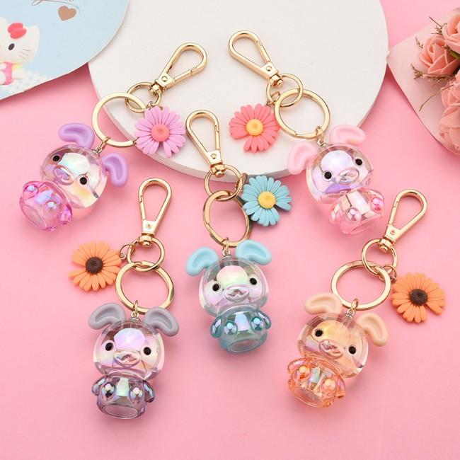 جاسوئیچی طرح خرگوش و گل Cute rabbit with daisy flower keychain