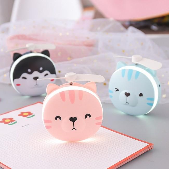 آینه و فن چراغ دار طرح گربه Cute Cat mini fan with LED lamp mirror