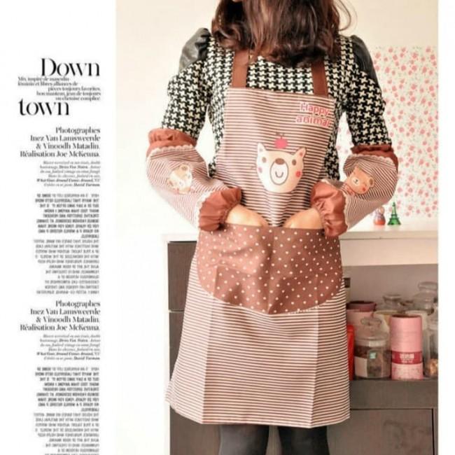 ست دستکش و پیشبند آشپزخانه طرح کارتونی Poleyster lady's kitchen cooking pinafores