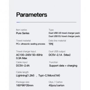 آداپتور دو خروجی با کابل میکرو توتو TOTU GTZAC-09 Pure Series 2USB Adapter