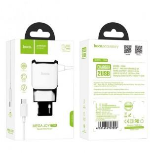 آداپتور دو خروجی هوکو با کابل میکرو Hoco C59A Mega joy double port for Micro (EU)
