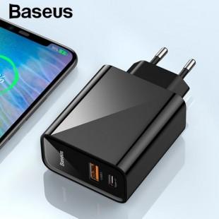 آداپتور دو خروجی یو اس بی بیسوس Baseus Speed Dual QC3.0 Quick charger U+U 30W EU