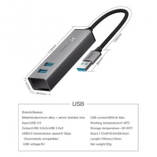 هاب آداپتور پنج پورت بیسوس Baseus Cube USB to USB3.0 + USB2.0 HUB Adapter