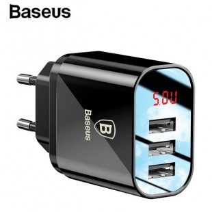 آداپتور 3 پورت هوشمند بیسوس Baseus Mirror Lake Intelligent Digital Display 3USB Travel Charger 3.4A