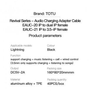 تبدیل لایتنینگ به جک 3.5 میلیمتری و شارژر توتو TOTU EAUC-21 Lightning to 2 Lightning+3.5