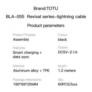 کابل شارژ لایتنینگ سر کج 1.2 متری توتو TOTU BLA-055 Revival Series