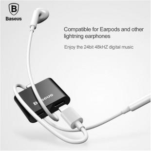 تبدیل لایتنینگ اپل به جک 3.5 میلیمتری و شارژر بیسوس BASEUS 2 in 1 interface OTG Adapter for iphone