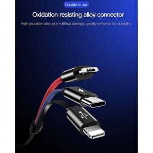 کابل شارژ 3 سر TOTU conch 1 split to 3 stretchable cable