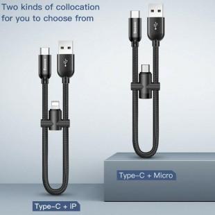 کابل شارژ کوتاه 2 خروجی آیفون و تایپ سی بیسوس Baseus U-shaped Cable