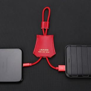 کابل شارژ چرمی USAMS US-SJ117 iOS Cable کابل شارژ کوتاه پاور بانکی