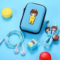 پک محافظ کابل پلاستیکی پک محافط کابل + کیف هندزفری مستطیل - Girl HandsFree Pack