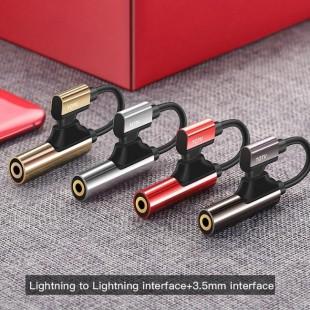 کابل تبديل 1 به 2 لايتنينگ و صدا توتو TOTU EAUC-11 Lightning to Lightning+Aux 3.5mm