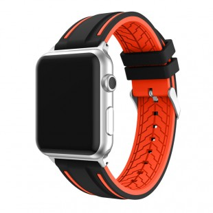 لوازم جانبی ساعت سیلیکونی Band Black With Red Line Smart Watch Apple Watch 42mm