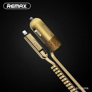 شارژر فندکی ریمکس با کابل شارژ فنری 2 خروجی ریمکس مدل REMAX Finchy RCC103