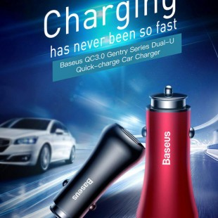 شارژر فندکی Baseus Gentry Series Dual-U Quick USB 5V 2.4A 18W Car Charger - شارژر فندکی بیسوس