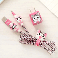 پک محافظ کابل پلاستیکی protective Toys محافظ کابل + برچسب شارژر آیفون گربه