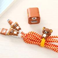 پک محافظ کابل پلاستیکی protective Toys محافظ کابل + برچسب شارژر آیفون خرس