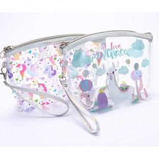 کیف لوازم آرایشی شفاف طرح یونیکورن Unicorn Makeup Bag
