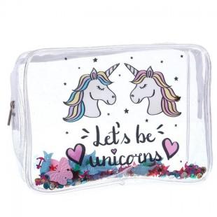 کیف لوازم آرایش شفاف طرح یونیکورن