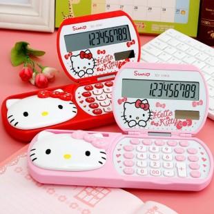 ماشین حساب فانتزی هلوکیتی با لیوان جمع شونده Hello Kitty XD-1106 Calculator