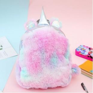 کوله خزدار هولوگرامی طرح یونیکورن Unicorn Hologram Bag