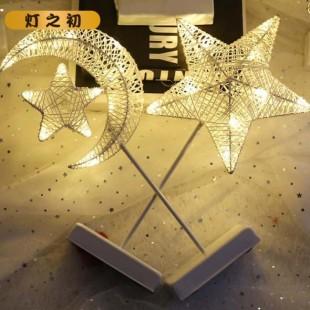 چراغ خواب پایه دار توری طرح ماه و ستاره