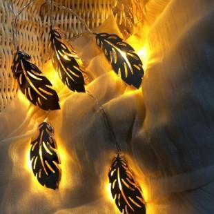 ریسه 2 متری طرح برگ فلزی رزگلد با 10 چراغ نور آفتابی