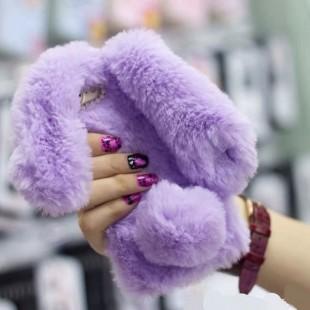 قاب ژله ای خزدار Rabbit Fur Pearl ear Case Samsung Galaxy S8
