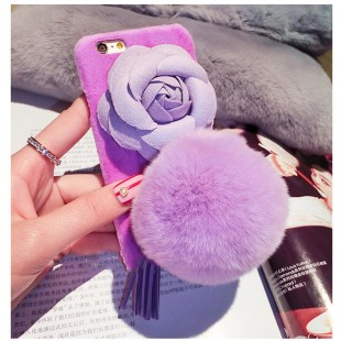 قاب مخملی خزدار Flower Fur Rose 3D Case for Apple iPhone 6 Plus