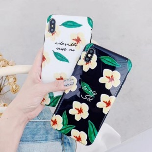 قاب ژله ای طرح گل Black Flower TPU Case iPhone X/Xs