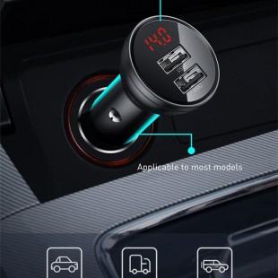شارژر فندکی بیسوس مدل Baseus Digital Display Dual USB 4.8A Car Charger 24W