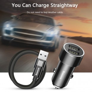 شارژر فندکی بیسوس مدل Baseus Small Screw 3.4A Dual-USB  Car Charger