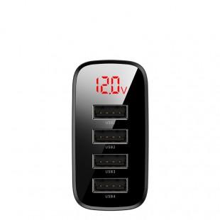 شارژر مسافرتی با صفحه نمایش دیجیتالی بیسوس مدل Baseus Mirror lake digital display 4U travel charger 30W euro gauge CCJMHB-B01