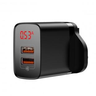 آداپتور دو خروجی بیسوس با صفحه نمایش دیجیتال مدل Baseus mirror lake dual qc digital display quick charger A+A UK CCJMHA-D01
