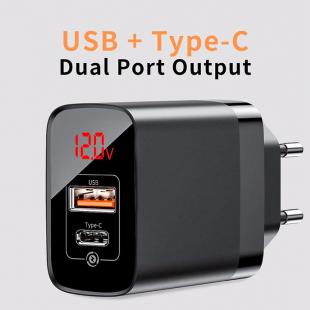 آداپتور دو خروجی یو اس بی و تایپ سی با صفحه نمایش دیجیتالی بیسوس مدل Baseus Mirror Lake PPS Digital Display quick Charger A+C EU CCJMHC-A01
