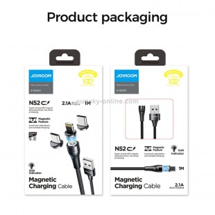 کابل فست شارژ مگنتی میکرو جویروم Joyroom S-1021X2 micro USB magnetic charging cable with LED indicator