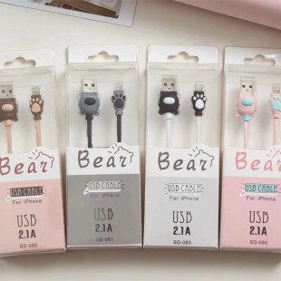 کابل رابط فانتزی طرح پنجه خرس Cartoon bear paw charging cable for android iPhone Type-c mobile phone data cable