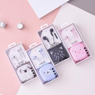 هندزفری فانتزی طرح حیوانات بامزه Cute animal cartoon wired earphone with square storage box XY30