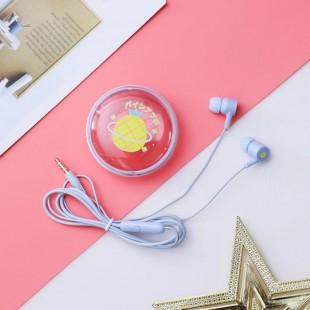 هندزفری فانتزی طرح میوه همراه با کیف نگهدارنده fruit design wired earphones with storage box