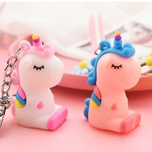 جاسوئیچی طرح یونیکورن با بند سیلیکونی Rainbow Unicorn Keychain 73-6