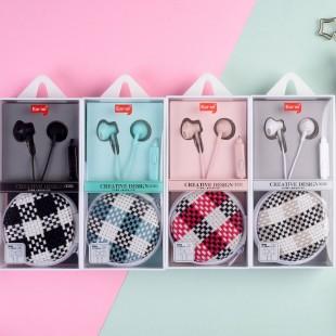 هندزفری شطرنجی ایرسیر Earsir E-196 checkered design earphones