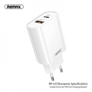 آداپتور ریمکس Remax simple series QC 3.0+PD charging adapter RP-U37