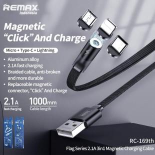کابل شارژ 3در1 مغناطیسی ریمکس Remax Flag series 2.1A 3in1 magnetic charging cable RC-169TH